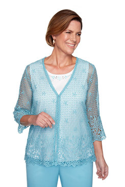 Image: Plus Crochet Lace Two-For-One Sweater