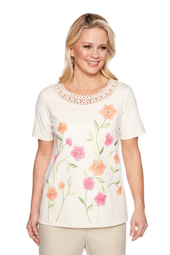 Image: Plus Crochet Neck Floral Top