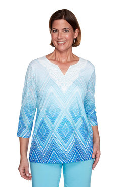 Image: Plus Diamond Lace Ombre Top