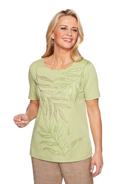 Image: Plus Embellished Leaf Knit Top