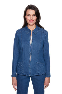 Image: Plus Embellished Zip Front Jacket