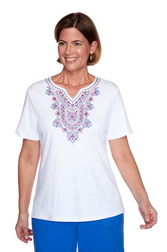 Image: Plus Embroidered Yoke Top