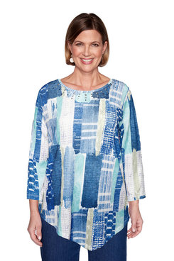 Image: Plus Etched Patchwork Top