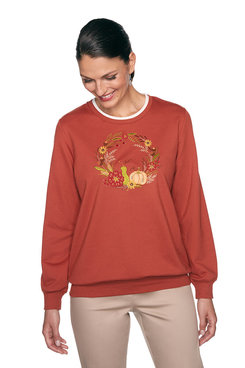 Image: Plus Fall Wreath Embroidered Top