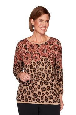 Image: Plus Floral Animal Print Jacquard Sweater