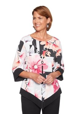 Image: Plus Floral Bell Sleeve Top
