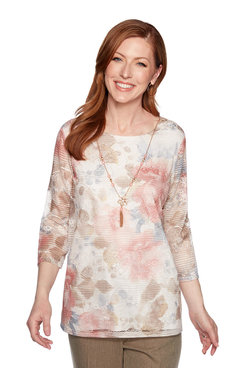 Image: Plus Floral Biadere Texture Top