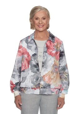 Plus Floral Bomber Jacket