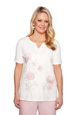 Image: Plus Floral Border Embroidery Top