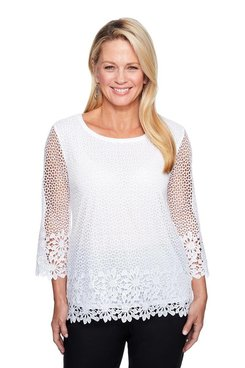 Image: Plus Floral Border Lace Tunic