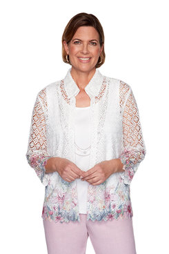 Image: Plus Floral Border Lace Two-For-One Shirt