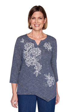 Image: Plus Floral Embroidery Striped Top