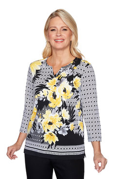 Image: Plus Floral Geometric Top