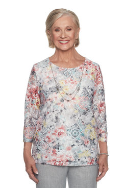 Image: Plus Floral Lace Print Top