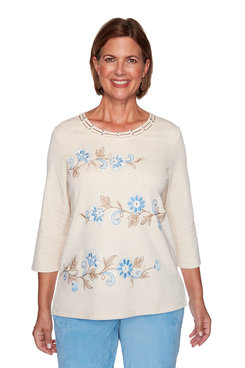 Image: Plus Floral Scroll Biadere Embroidery Top