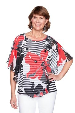 Image: Plus Floral Stripe Flutter Top