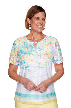 Image: Plus Floral Yoke Texture Top