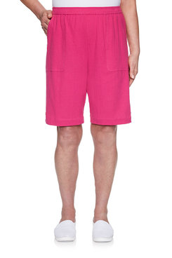Image: Plus Gauze Button Trim Short