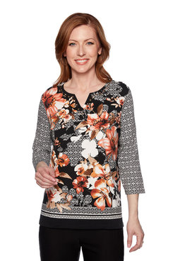 Image: Plus Geometric Floral Top