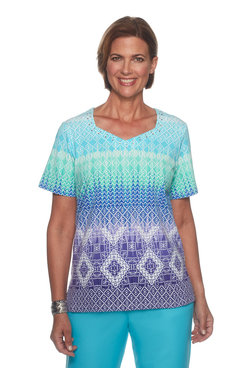 Image: Plus Geometric Ombre Top