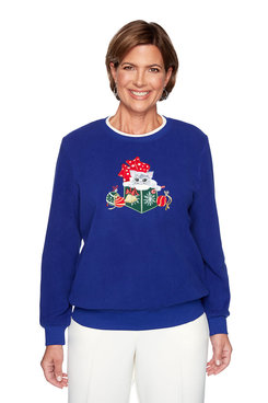 Image: Plus Holiday Kitten Embroidered Pullover
