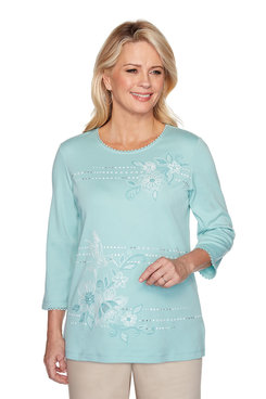 Image: Plus Hummingbird Floral Beaded Top