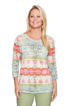 Image: Plus Ikat Biadere Printed Top