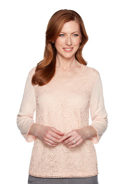 Image: Plus Lace Front Knit Top