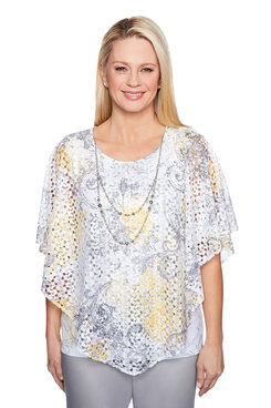 Image: Plus Lace Overlay Top