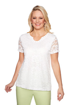 Image: Plus Lace Solid Knit Top
