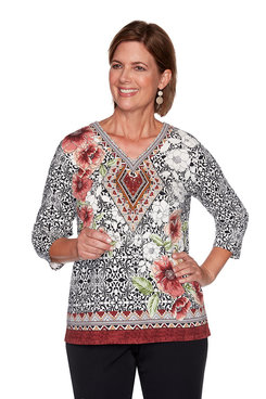 Image: Plus Medallion Border Knit Top