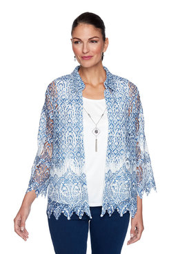Image: Plus Medallion Border Lace Two-For-One Top