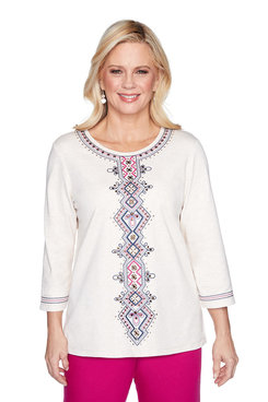 Image: Plus Medallion Center Embroidered Top
