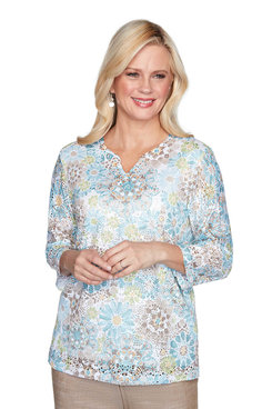 Image: Plus Medallion Lace Print Top
