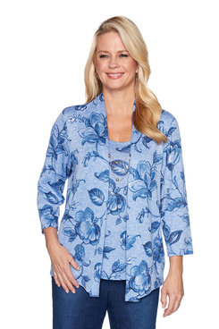 Image: Plus Melange Floral Two for One Top