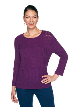 Image: Plus Mixed Stitch Patchwork Sweater