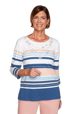 Image: Plus Multistriped Top with Faux Necklace