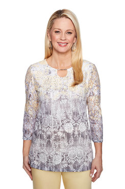 Image: Plus Ombre Floral Scroll Top