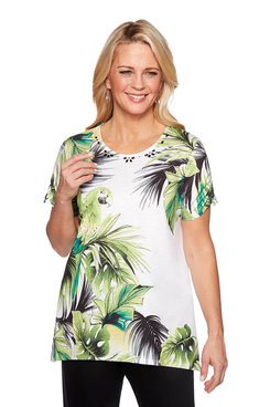 Image: Plus Parrot Print Knit Top