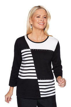 Image: Plus Patchwork Stripe Sweater with Scarf
