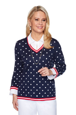 Image: Plus Polka Dot Two-For-One Sweater