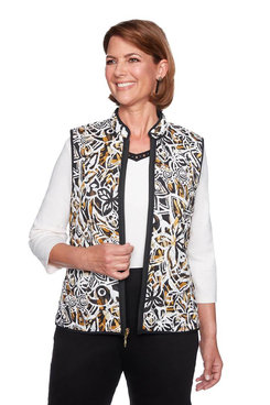 Image: Plus Reversible Floral Abstract Vest