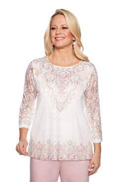 Image: Plus Scroll Border Knit Top