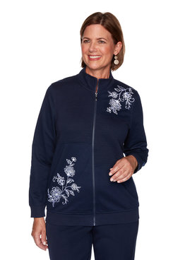 Image: Plus Scroll Floral Quilt Embroidered Jacket