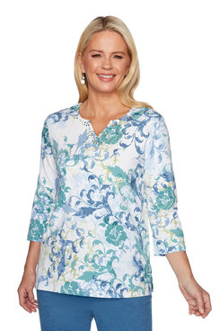 Image: Plus Scroll Floral Top
