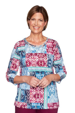 Image: Plus Scroll Patchwork Top