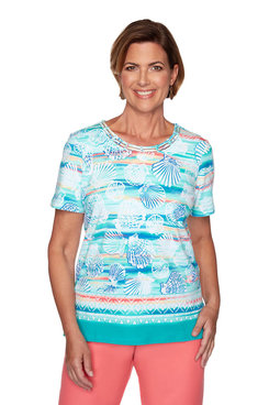 Image: Plus Seashell Biadere Print Top