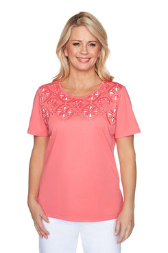 Image: Plus Seashell Embroidered Top