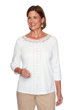 Image: Plus Solid Center Crochet Knit Top