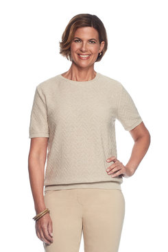 Image: Plus Solid Short Sleeve Sweater Shell